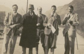 Mid 1930s - Walking tour in Wales, photographer Owen Barfield; from left Cecil Harwood, C.S. Lewis, W.O. Field, W.E. Beckett, A. Hanbury-Sparrow