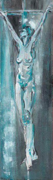 Crucifixion, Raffaella Bertolini, 2003, oil on canvas, 31 x 102 cm