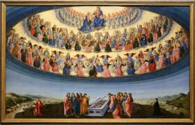 The Assumption of the Virgin by F. Botticini, 1475. Painting resplendent of the Way via the 'Negative'